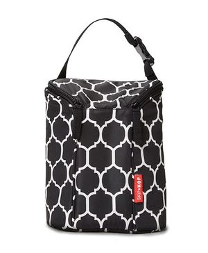 Skip Hop Grab-and-Go Insulated Double Bottle Bag Onyx Tile Design - Black
