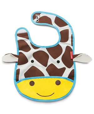 Skiphop Zoo Tuck-Away Bib Jules Giraffe Design- Multi Color