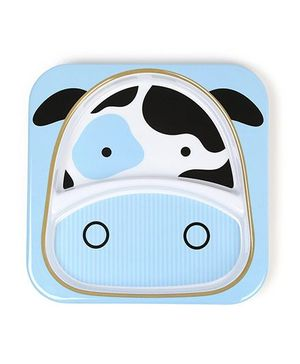 Skip Hop Melamine Feeding Divided Plate Cheddar Cow Design - Blue Black
