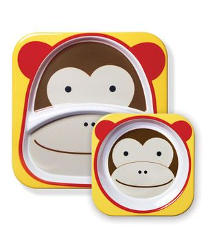 Skiphop Feeding Divided Plate And Bowl Set Marshall Monkey Print - Multi Color