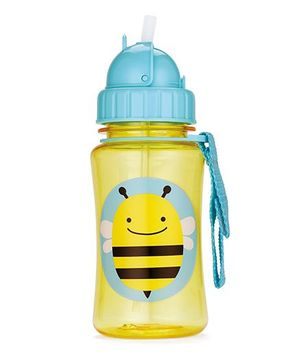 Skiphop Zoo Sipper Bottle With Straw Brooklyn Bee Print Yellow - 350 ml