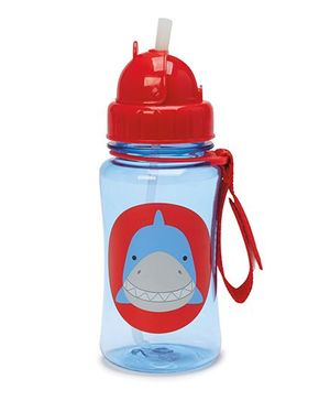 Skiphop Zoo Sipper Bottle With Straw Snazzy Shark Print Blue - 350 ml