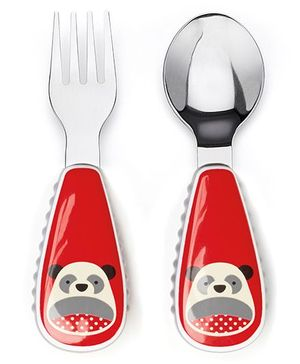 Skip Hop Fork And Spoon Set Panda Print - Red