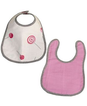 Kadambaby Candy Print And Plain Muslin Bib Pack Of 2 - Beige Pink