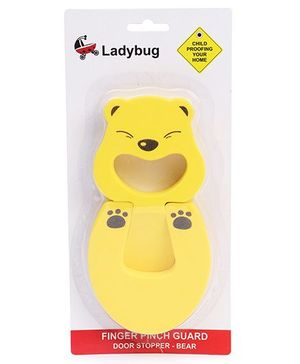 Ladybug Finger Pinch Guard Door Stopper Bear Shape - Yellow