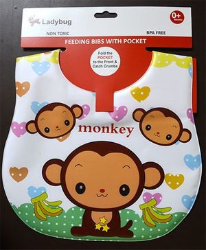 Ladybug Feeding Crumb Catcher Bib With Pocket Monkey Design - Multicolor