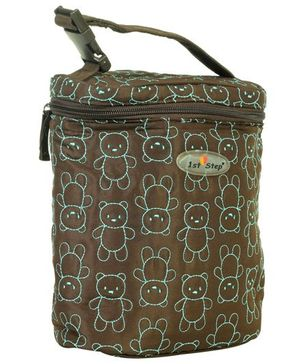 1st Step Thermal Bottle Cover Teddy Embroidery - Brown & Green