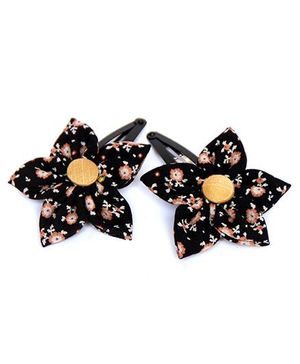 Pigtails and Ponys Secret Garden Flower Clips Set Of 2 - Black