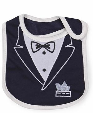 1st Step Velcro Closure Bib Embroidered - Navy Grey