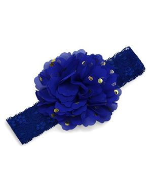 Little Miss Cuttie Lace Elasticated Headband - Royal Blue