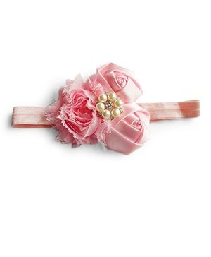 Milonee Headband With Cluster Of Flowers & Pearl Applique - Pink
