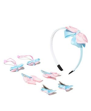 Golden Peacock Printed & Bow Applique Hair Accessory Set - Blue & Pink