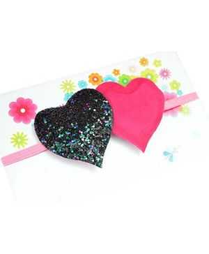Little Tresses Twin Glittery Hearts Soft Stretchable Headband - Pink & Black