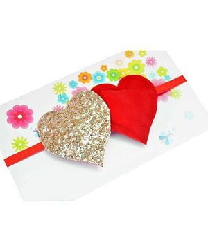 Little Tresses Twin Glittery Hearts Soft Stretchable Headband - Red & Gold