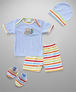 Babyhug Clothing Gift Set Of 4 Pieces - SkyBlue Multicolor
