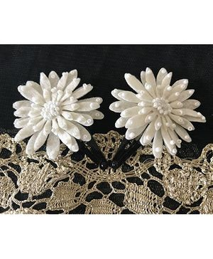 Kalacaree Flower With Bead Work Design Hair Clips - Off White