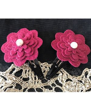 Kalacaree Flower With Pearl Design Hair Clips - Magenta