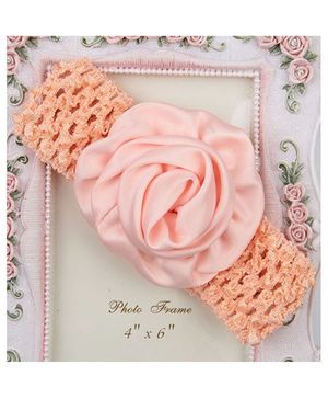 Pikaboo Rolled Up Rose Crochet Headband - Peach