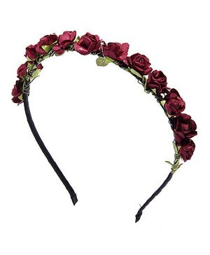 Pikaboo Roses Garland Hairband - Wine