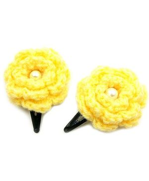 Magic Needles Tic Tac Hair Clips With Flower Set Of 2 - Yellow