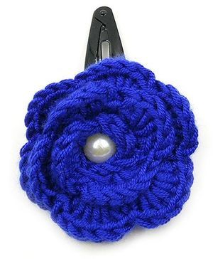 Magic Needles Tic Tac Hair Clips With Big Crochet Rose - Dark Blue