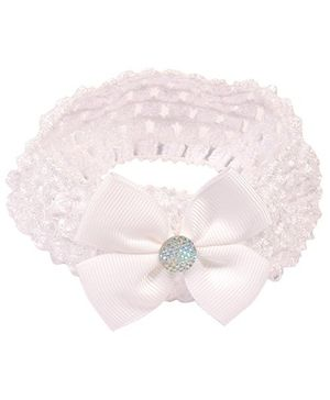 Miss Diva Shiny Bow Soft Headband - White