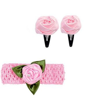 Miss Diva Leafy Rose Design Headband & Tic Tac Set - Light Pink