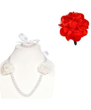 Miss Diva Rose Design Necklace & Tic Tac Set - White