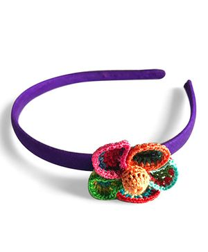 Samoolam Crafts Flower Crochet Hairband - Purple & Multi Colour