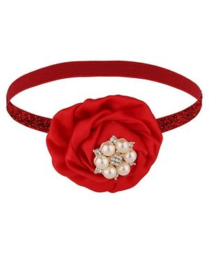 Baby Angel Pearl Flower Elastic Headband - Red
