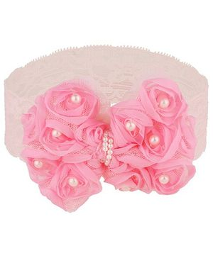 Baby Angel Floral Bow Design Headband - Pink