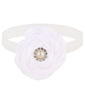 Baby Angel Satin Flower Headband - White
