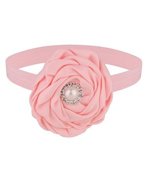 Baby Angel Satin Flower Headband - Pink