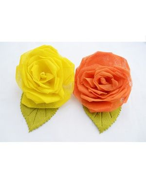 Pretty Ponytails Large Rose Tic Tacs Set Of 2  - Yellow & Orange
