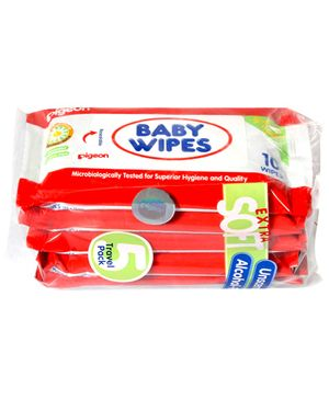 Pigeon Baby Wipes Travel Pack 10 x 5 Pieces