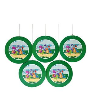 Funcart Barneys Dino Theme Swirl Decoration Green - Pack Of 10