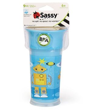 Sassy Insulated Cup Robot Print Blue - 266 ml