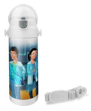 Hot Muggs Scientist Print Insulated Stainless Steel Sipper Water Bottle - 350 ml