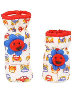 1st Step Flower Applique Bottle Cover Pack Of 2 - Off White Red