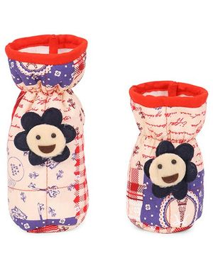 1st Step Flower Applique Bottle Cover Pack Of 2 - Peach Red Blue