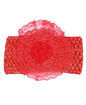 Miss Diva Rose Floral Broad Soft Headband - Red