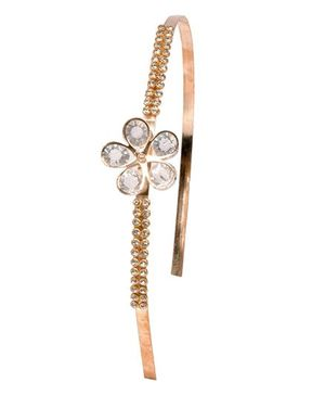 Miss Diva Pearl Studded Golden Floral Hair Band - Golden