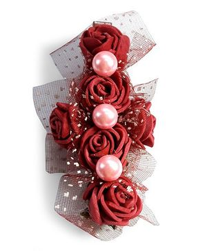 Sugarcart Bunch Of Roses With Pearls Alligator Clip - Maroon