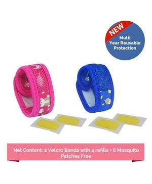 Safe-O-Kid Jungle & Sugartown Theme Reusable Anti-Mosquito Band With 4 Refills - Blue Pink
