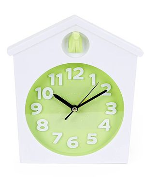 Home Shape Fashion Clock - White Green