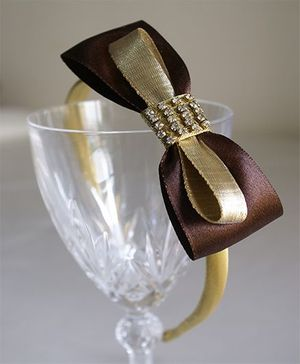Little Dress Studded Satin Bow Hairband - Brown & Gold
