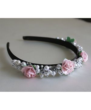 Little Dress Princess Pearl N Flower Hairband - White & Pink