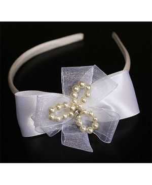 Little Dress Pearl Applique Hairband - Offwhite