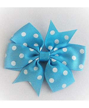 Bobbles & Scallops Poka Dots Bow Alligator Clip - Sky Blue