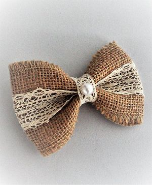Bobbles & Scallops Burlap Bow Alligator Clip - Brown